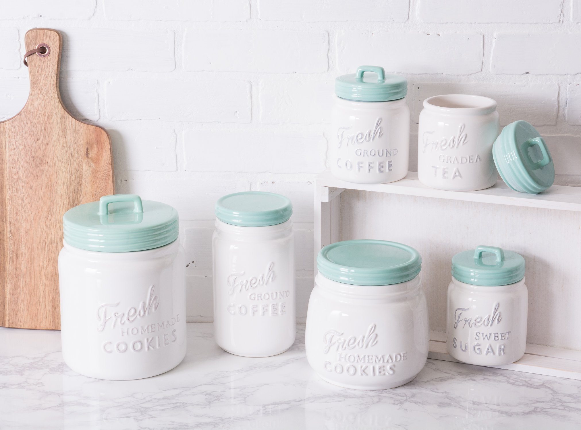three piece vintage retro ceramic kitchen canisters | my