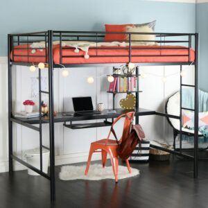 Metal Kids Loft Bed With Workstation