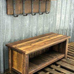 Reclaimed Barn Wood Bench And Shelf Set