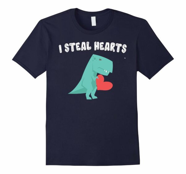 I Steal Hearts Valentine's Day Dinosaur Graphic T-Shirt