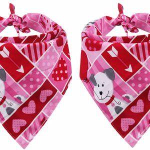 Valentine's Day Dog Reversible Bandana Two Pack