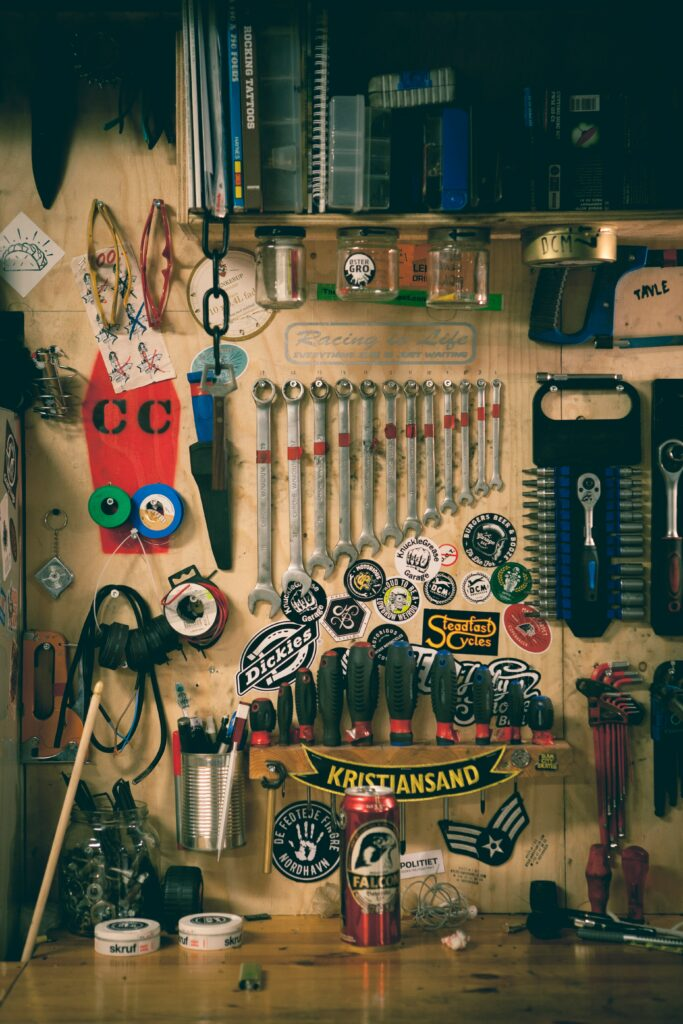 Organized Tools On Shelf And Wall