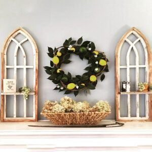 Distressed Cathedral Arch Window Frame Set with Shelf