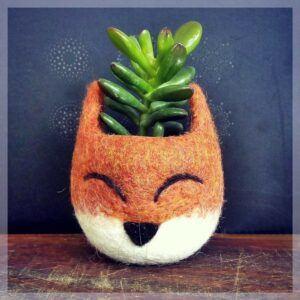 Fox Head Felt Succulent Planter