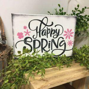 Happy Spring Flower Wooden Indoor Decoration Sign