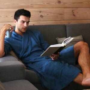 Black Ficus Natural Linen Men's Robe