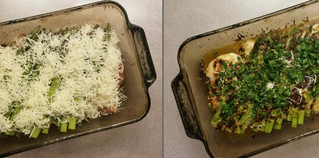 Cheesy Asparagus Lemon Chicken Bake Before And After