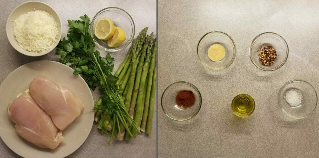 Cheesy Asparagus Lemon Chicken Bake Ingredients