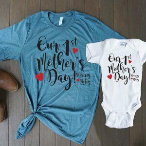 First Mother's Day T-Shirt Onesie Set