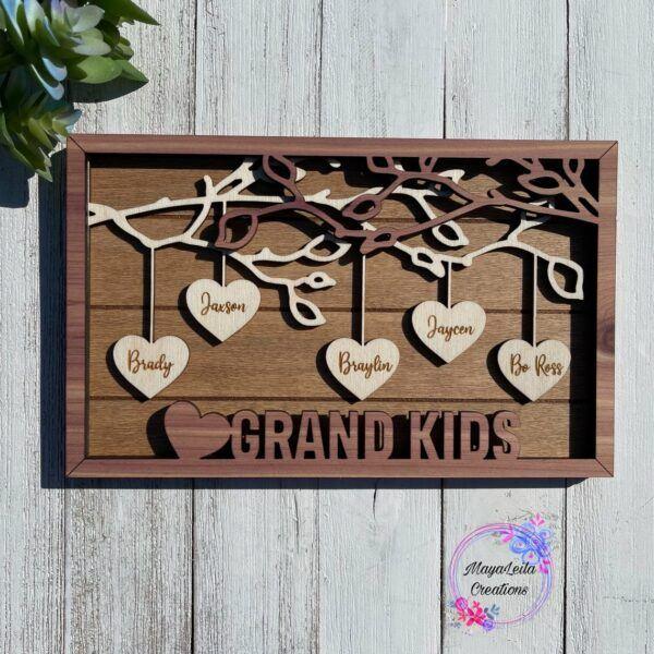 Grandparent Hanging Hearts Wooden Artwork