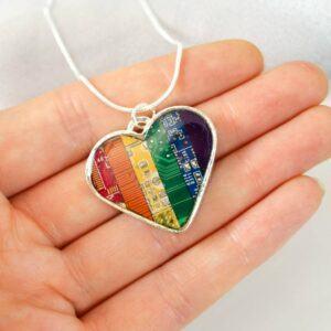 Rainbow Circuit Board Heart Necklace
