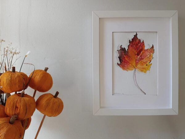 Autumn Leaf Watercolor Framed Painting