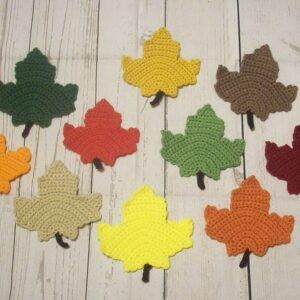 Crocheted Maple Leaf Fall Coasters