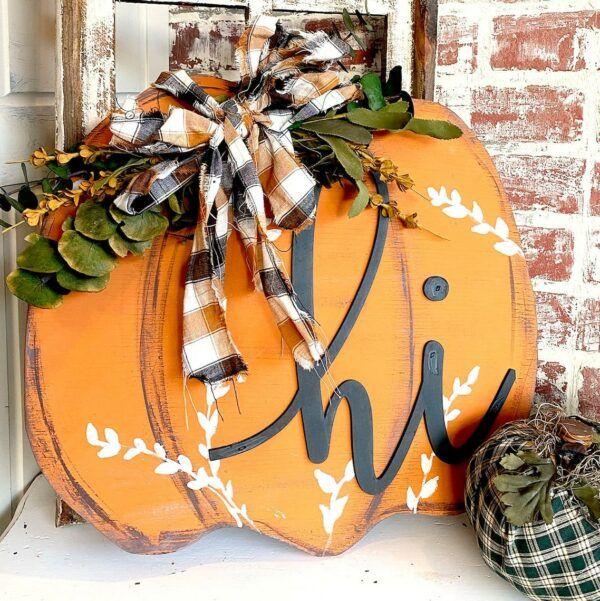 Fall Pumpkin Farmhouse Porch Sign