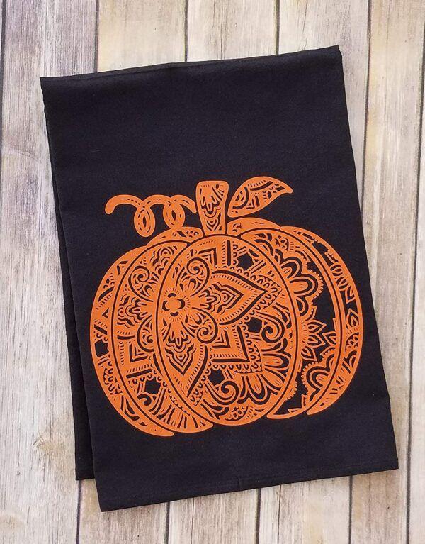 Orange And Black Pumpkin Mandala Flour Sack Towel